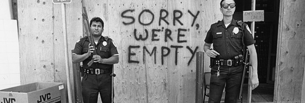Empty electronic store in LA during riots; Photo: Ted Soqui